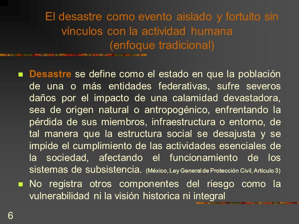 El desastre como evento aislado y fortuito sin vínculos con la actividad humana (enfoque tradicional)