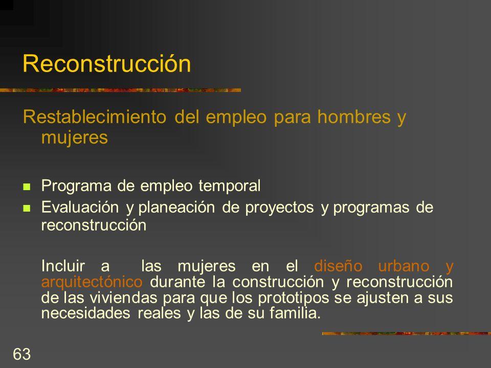 Reconstrucción Restablecimiento del empleo para hombres y mujeres
