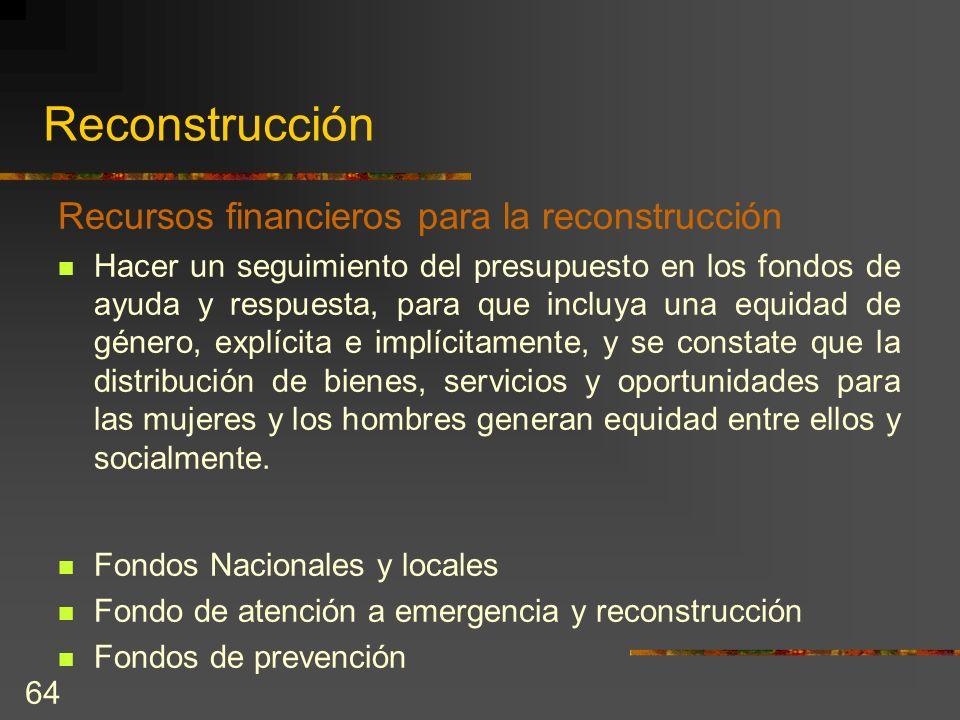 Reconstrucción Recursos financieros para la reconstrucción