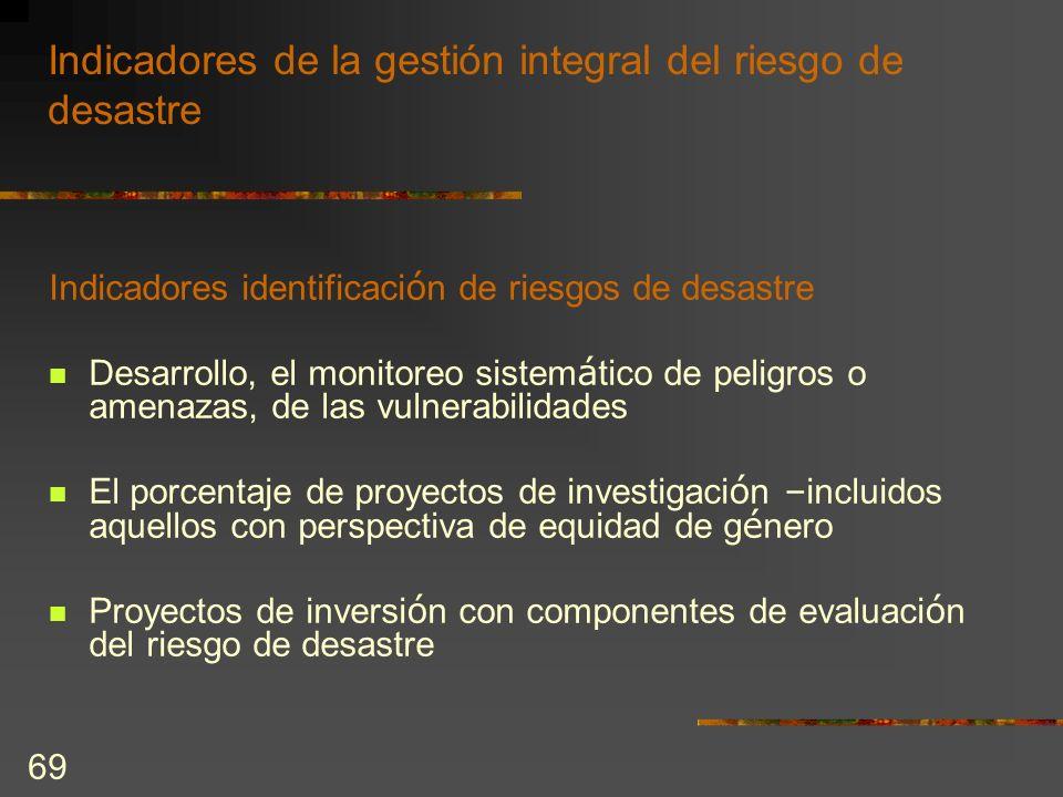 Indicadores de la gestión integral del riesgo de desastre