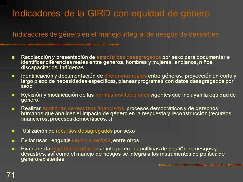 Indicadores de la GIRD con equidad de género Indicadores de género en el manejo integral de riesgos de desastres