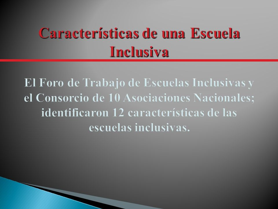Características de una Escuela Inclusiva El Foro de Trabajo de Escuelas Inclusivas y el Consorcio de 10 Asociaciones Nacionales; identificaron 12 características de las escuelas inclusivas.