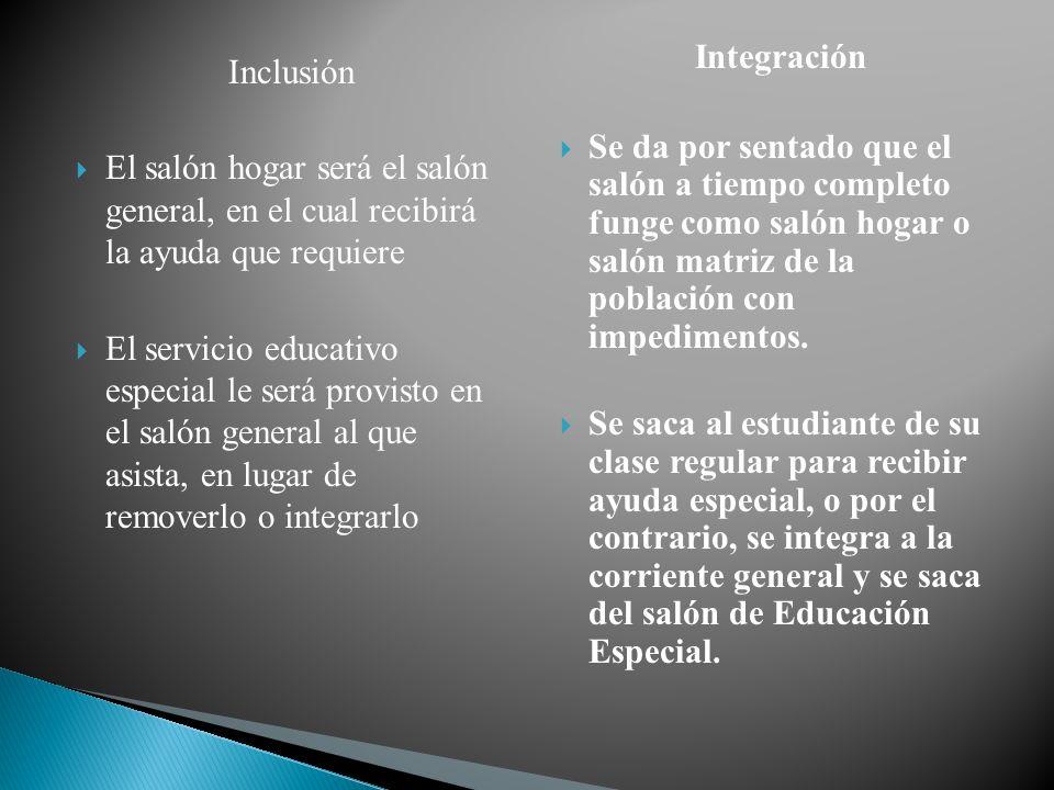 Integración Se da por sentado que el salón a tiempo completo funge como salón hogar o salón matriz de la población con impedimentos.