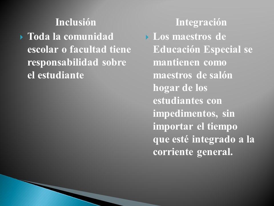 Inclusión Toda la comunidad escolar o facultad tiene responsabilidad sobre el estudiante. Integración.