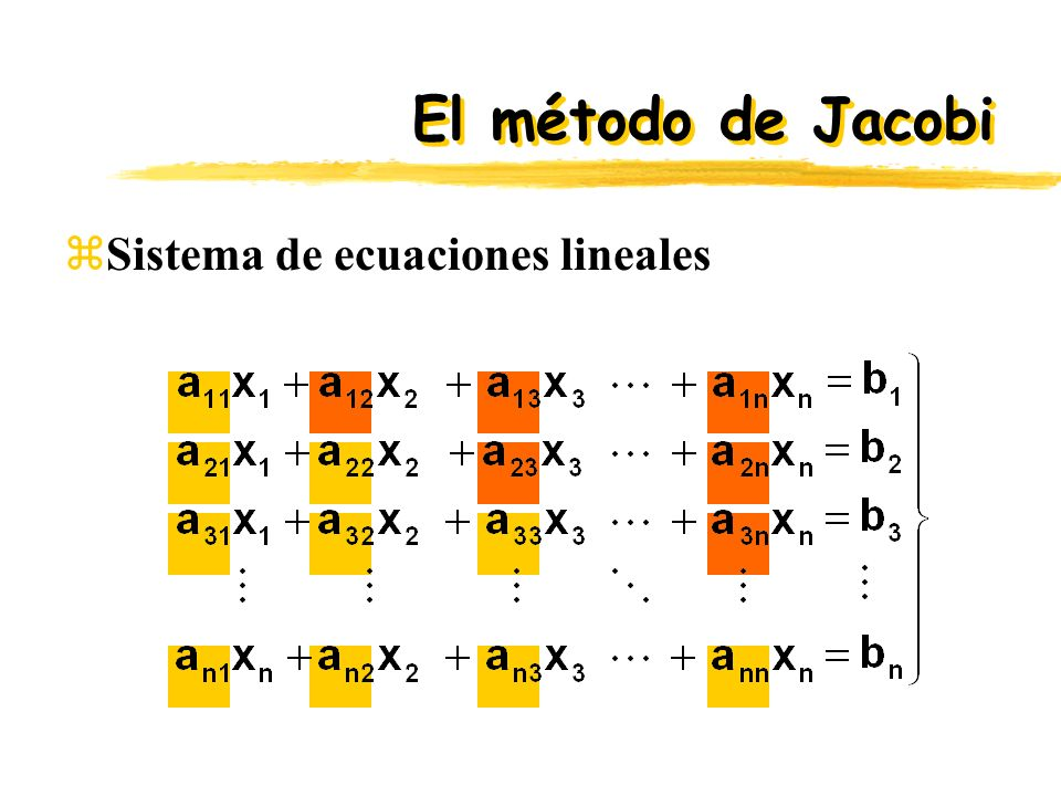 El método de Jacobi Sistema de ecuaciones lineales