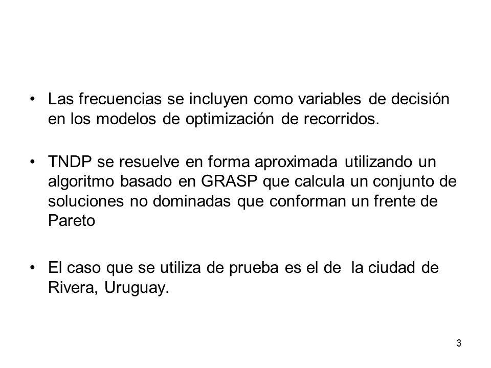 Las frecuencias se incluyen como variables de decisión en los modelos de optimización de recorridos.