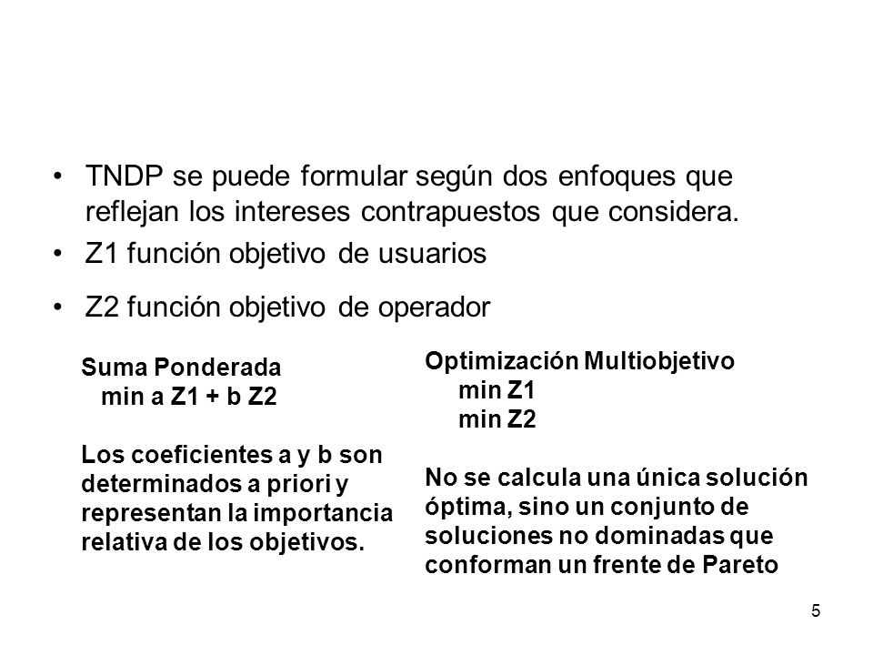 Z1 función objetivo de usuarios Z2 función objetivo de operador