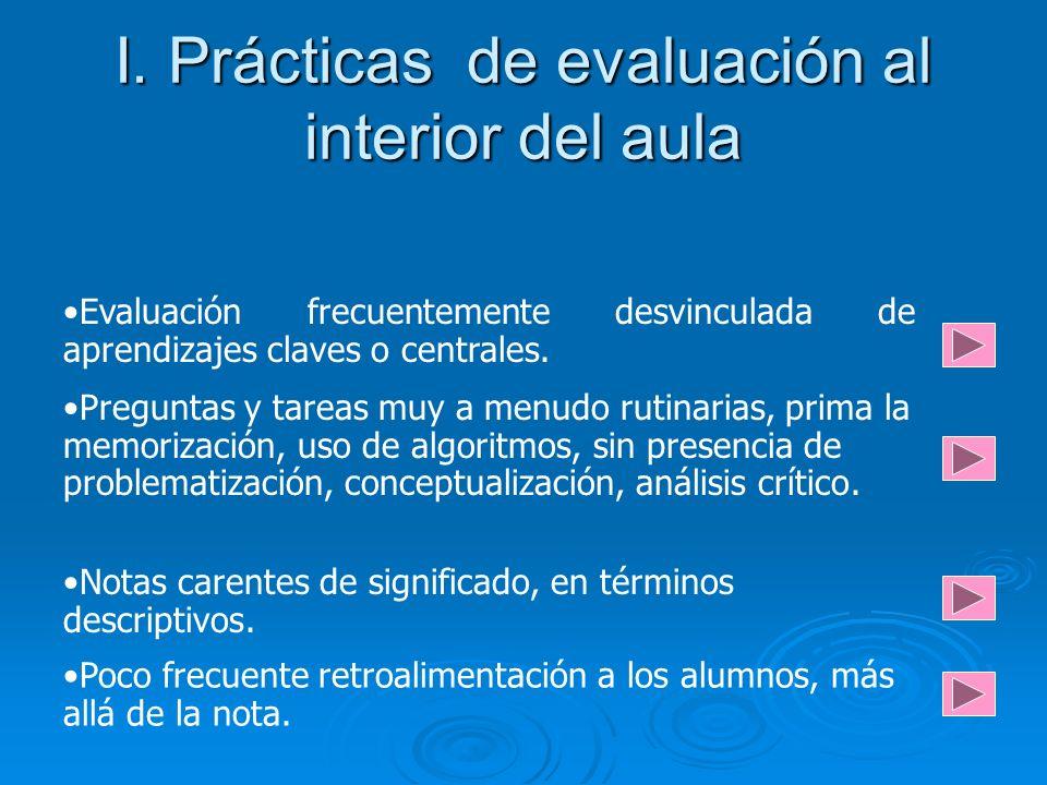 I. Prácticas de evaluación al interior del aula