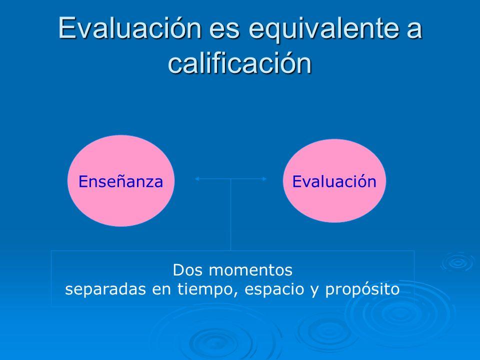 Evaluación es equivalente a calificación