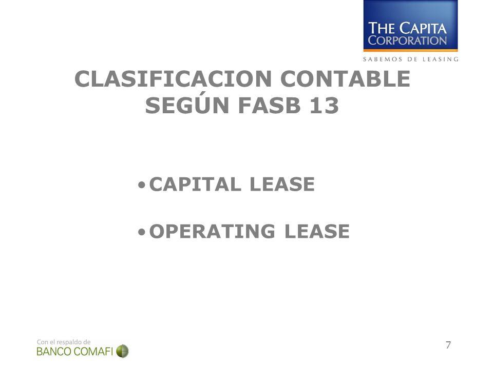 CLASIFICACION CONTABLE SEGÚN FASB 13