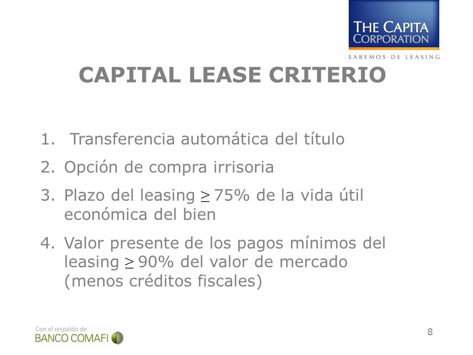CAPITAL LEASE CRITERIO