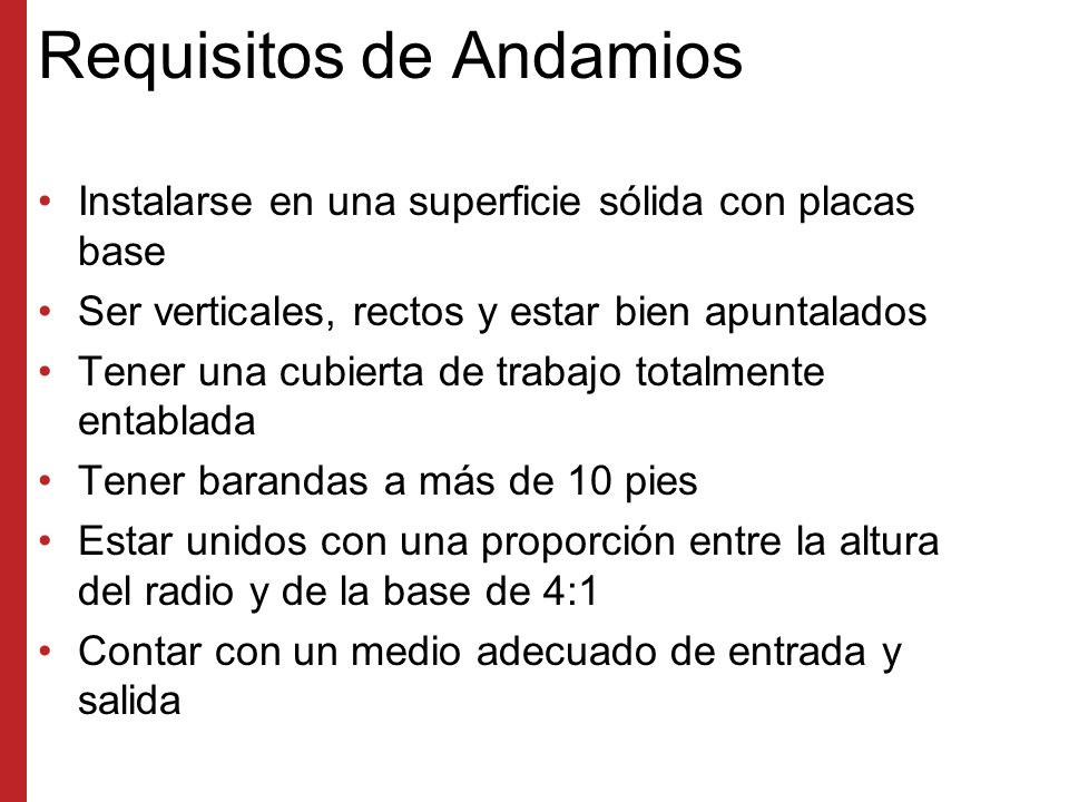 Requisitos de Andamios