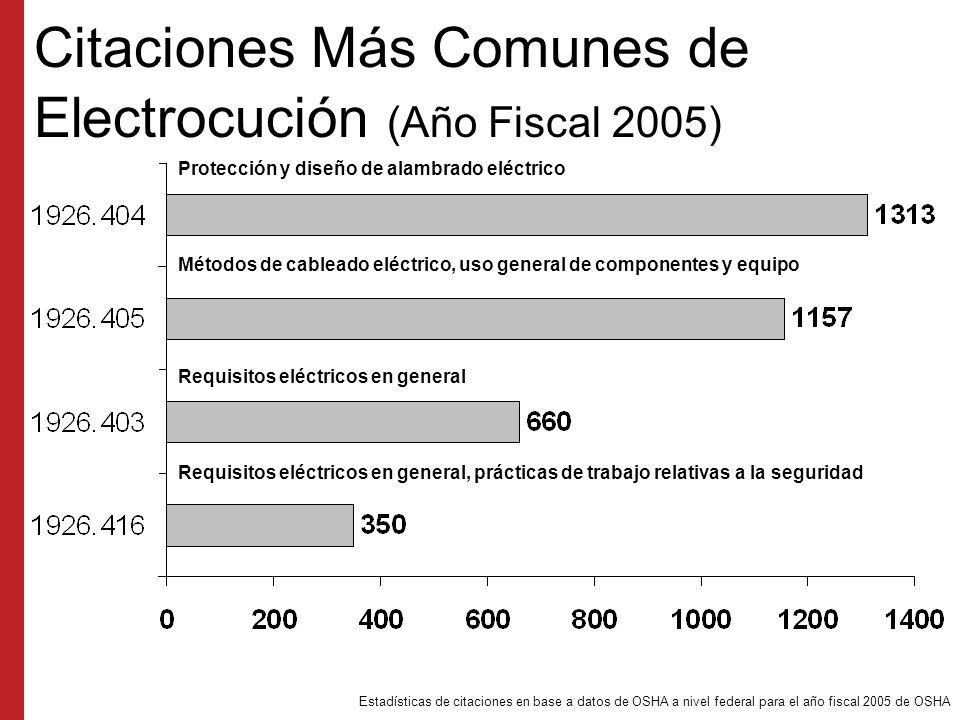 Citaciones Más Comunes de Electrocución (Año Fiscal 2005)