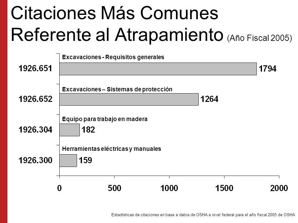 Citaciones Más Comunes Referente al Atrapamiento (Año Fiscal 2005)