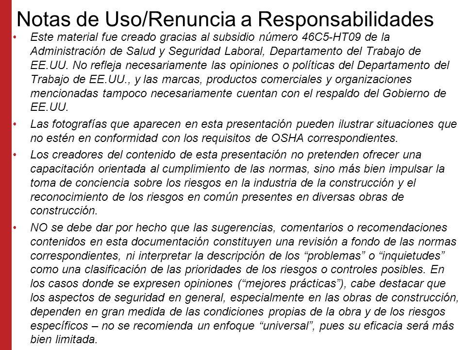 Notas de Uso/Renuncia a Responsabilidades
