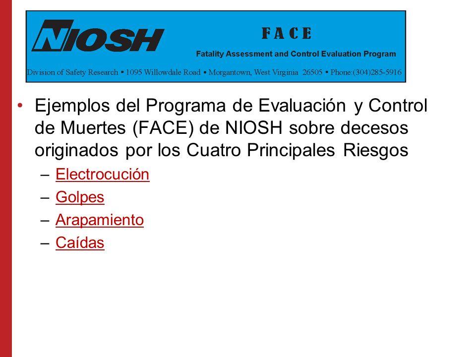 Ejemplos del Programa de Evaluación y Control de Muertes (FACE) de NIOSH sobre decesos originados por los Cuatro Principales Riesgos