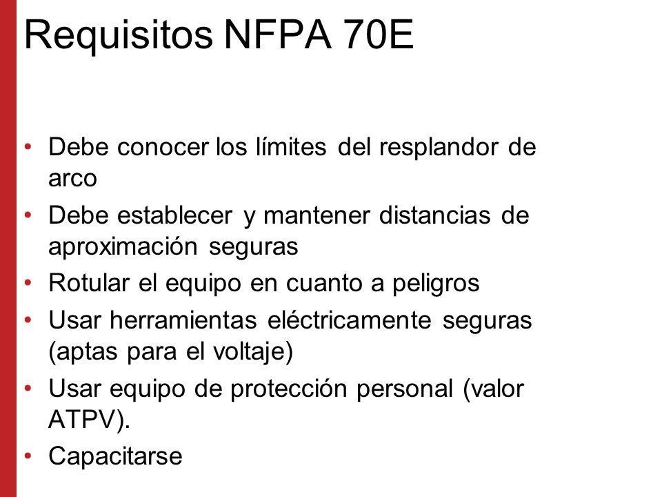 Requisitos NFPA 70E Debe conocer los límites del resplandor de arco