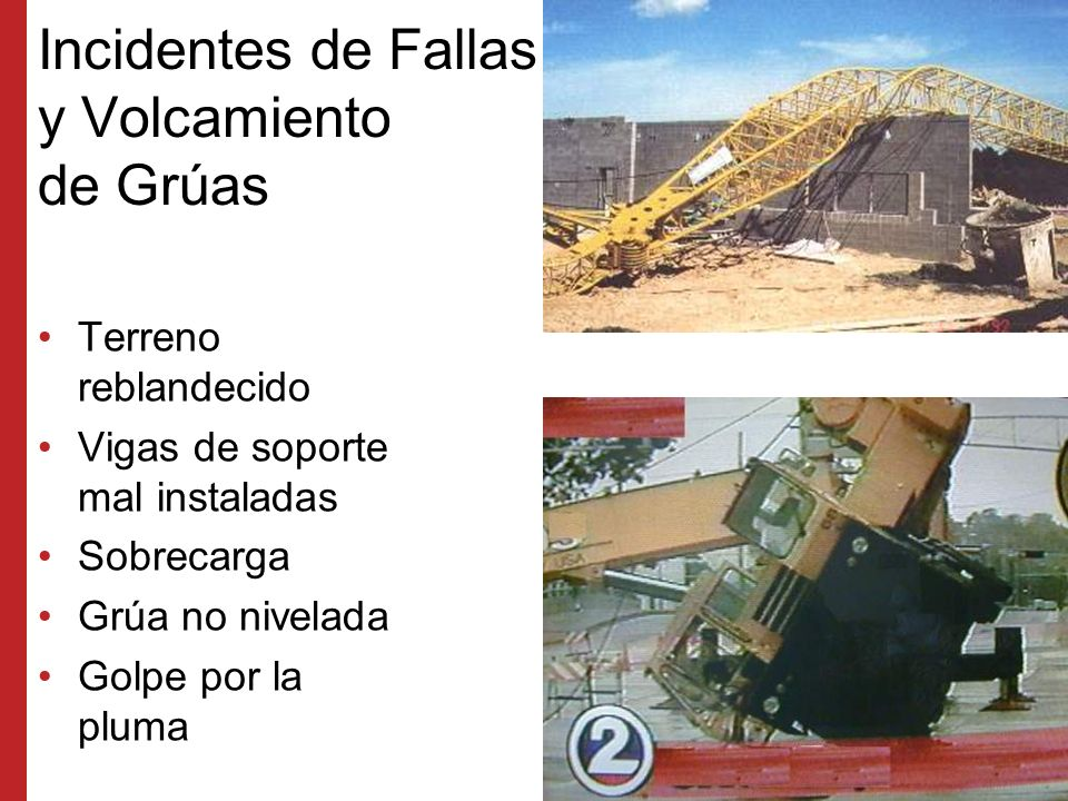 Incidentes de Fallas y Volcamiento de Grúas