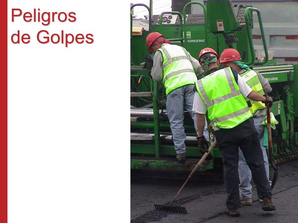 Peligros de Golpes Los peligros de golpes se presentan de muchas formas – materiales que caen o ruedan, cargas sin afianzar u objetos expelidos.