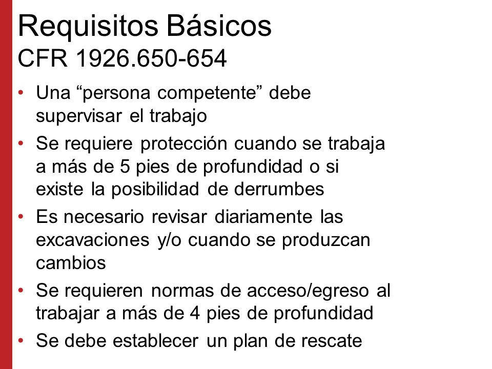 Requisitos Básicos CFR 1926.650-654