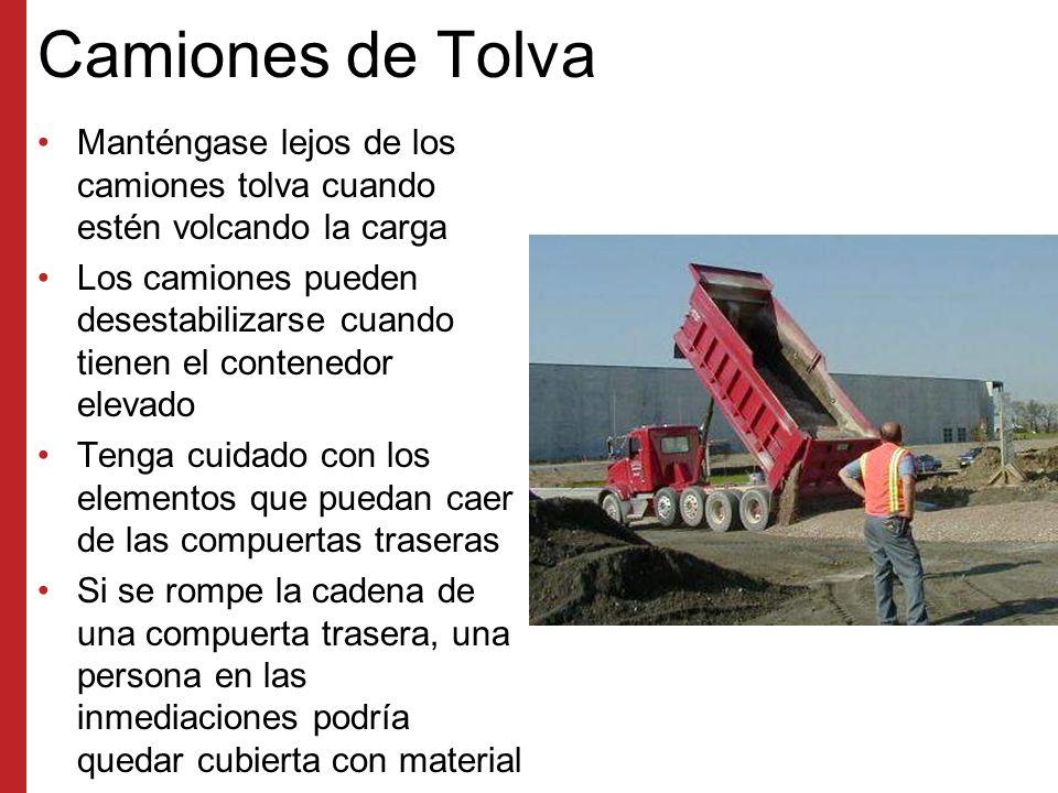 Camiones de Tolva Manténgase lejos de los camiones tolva cuando estén volcando la carga.