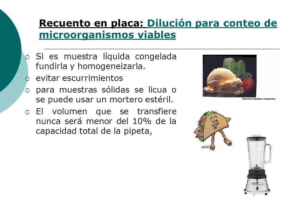 Recuento en placa: Dilución para conteo de microorganismos viables