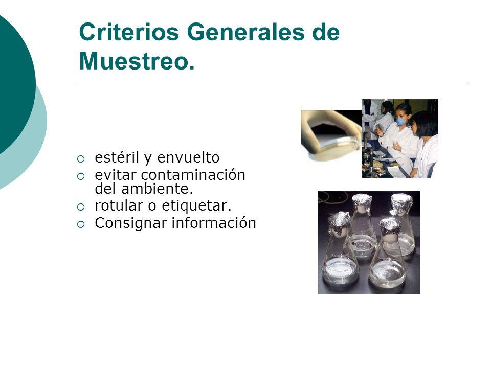 Criterios Generales de Muestreo.