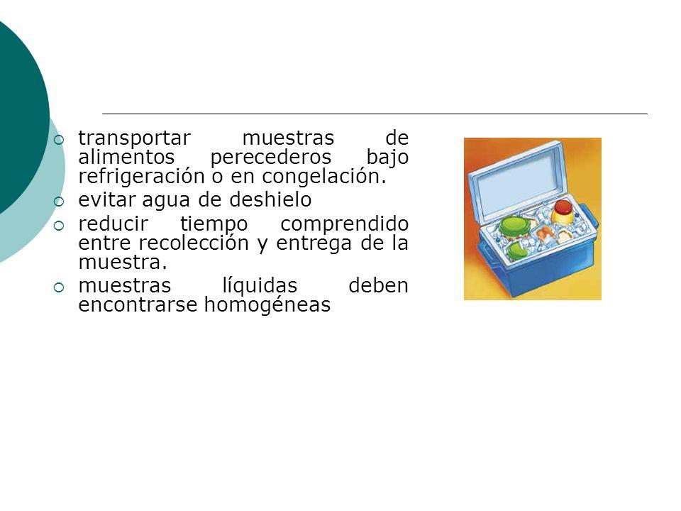 transportar muestras de alimentos perecederos bajo refrigeración o en congelación.