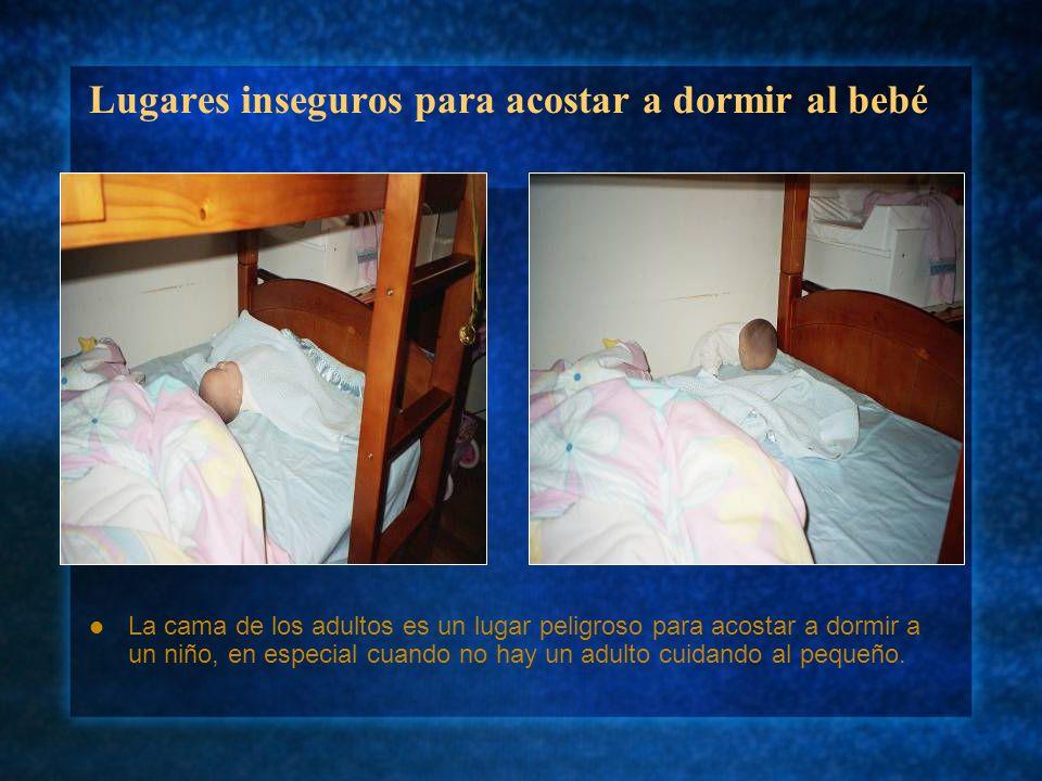 Lugares inseguros para acostar a dormir al bebé