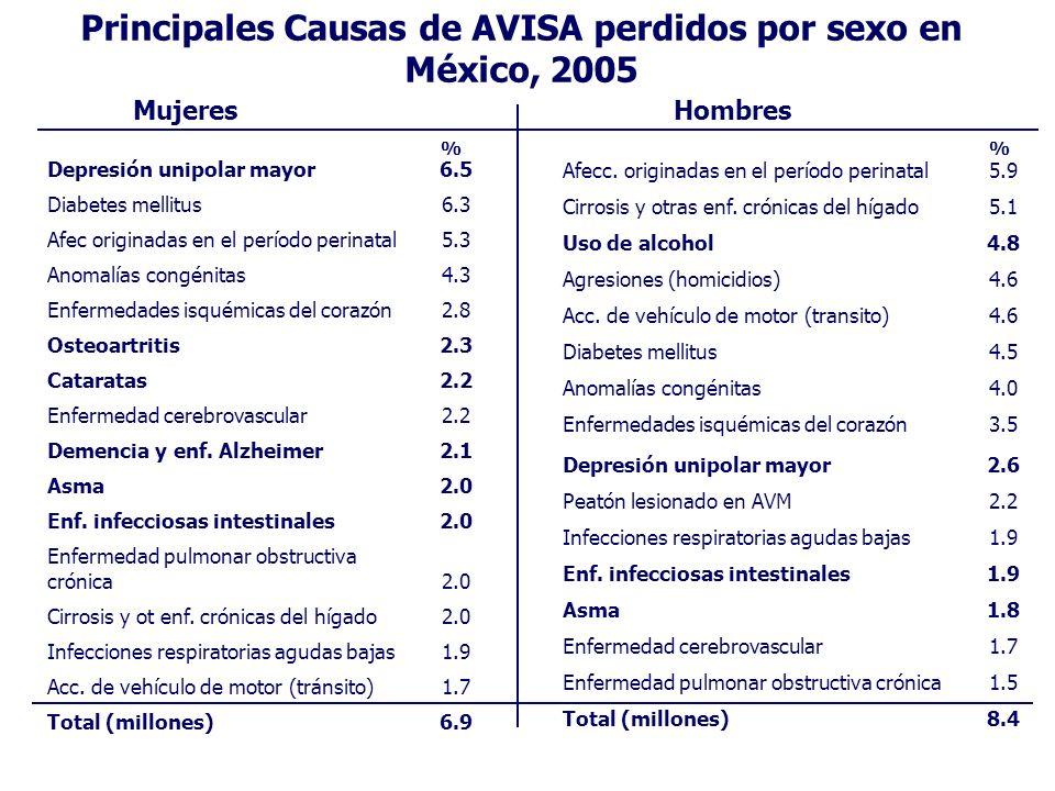 Principales Causas de AVISA perdidos por sexo en México, 2005