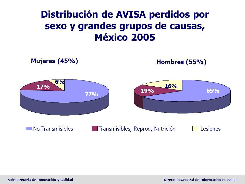 Distribución de AVISA perdidos por sexo y grandes grupos de causas, México 2005