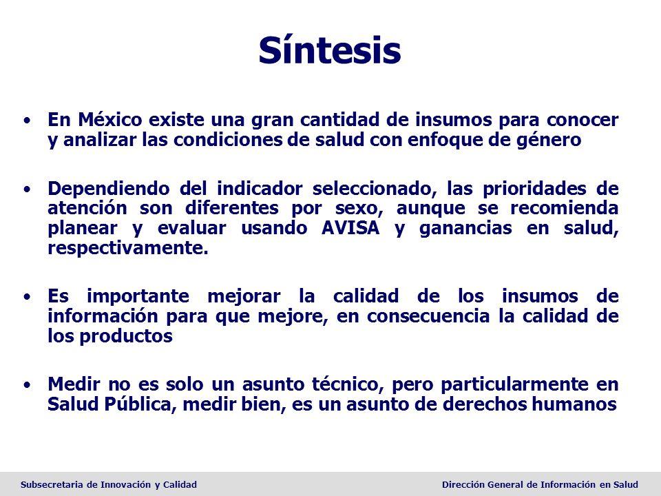 Síntesis En México existe una gran cantidad de insumos para conocer y analizar las condiciones de salud con enfoque de género.