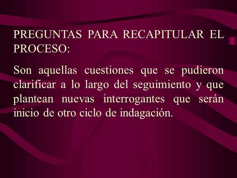 PREGUNTAS PARA RECAPITULAR EL PROCESO: