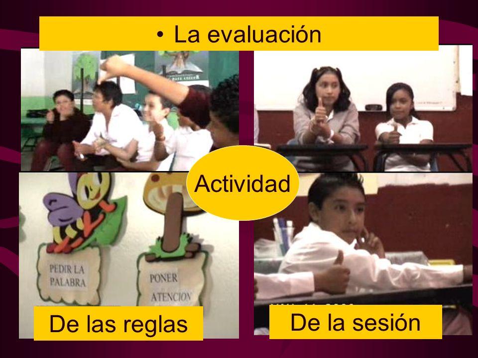 La evaluación Actividad De las reglas De la sesión
