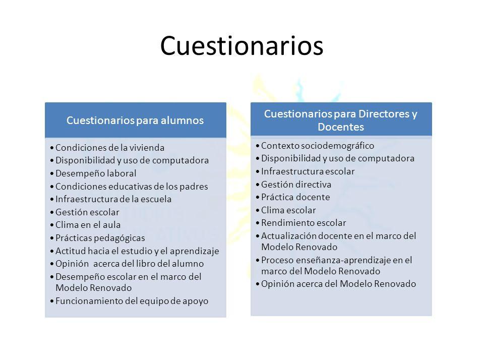 Cuestionarios Cuestionarios para Directores y Docentes