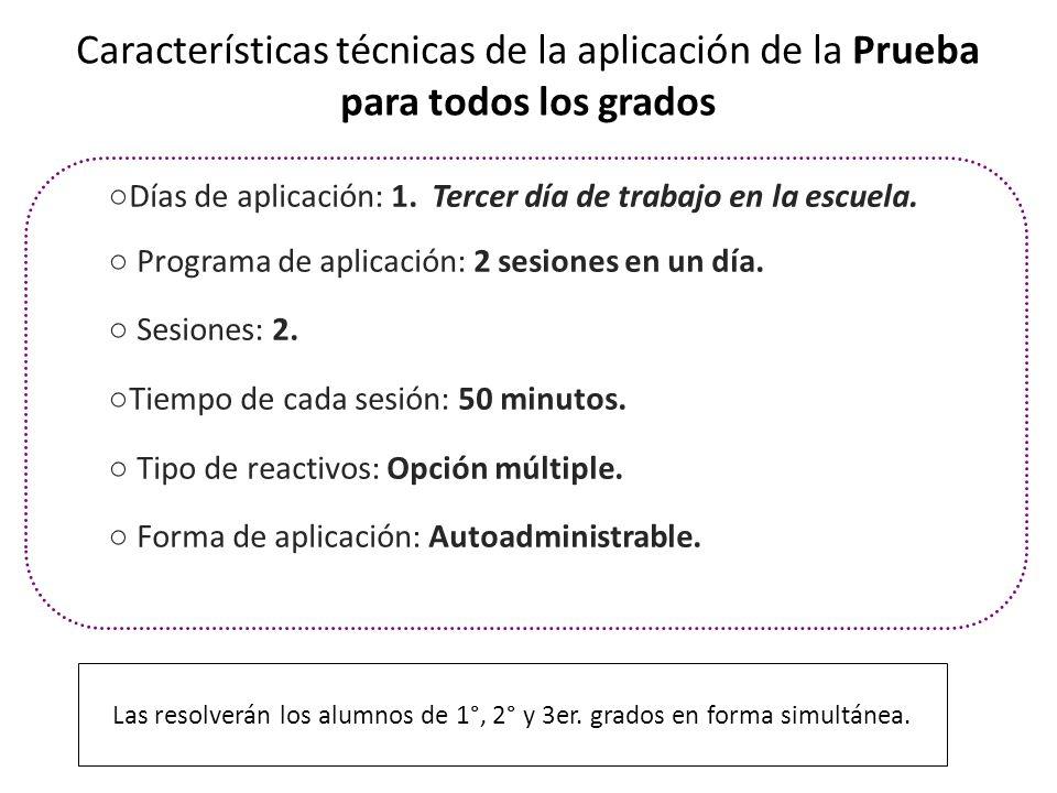 Características técnicas de la aplicación de la Prueba para todos los grados