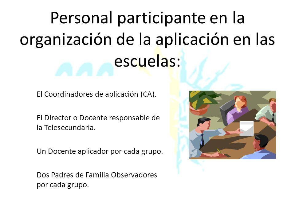 Personal participante en la organización de la aplicación en las escuelas: