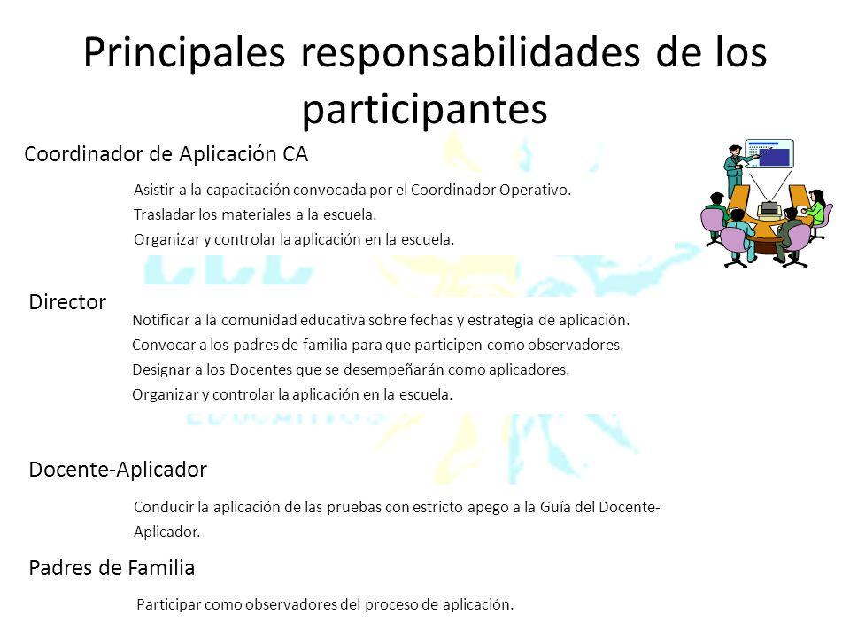 Principales responsabilidades de los participantes