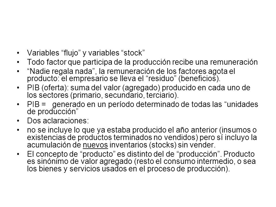 Variables flujo y variables stock
