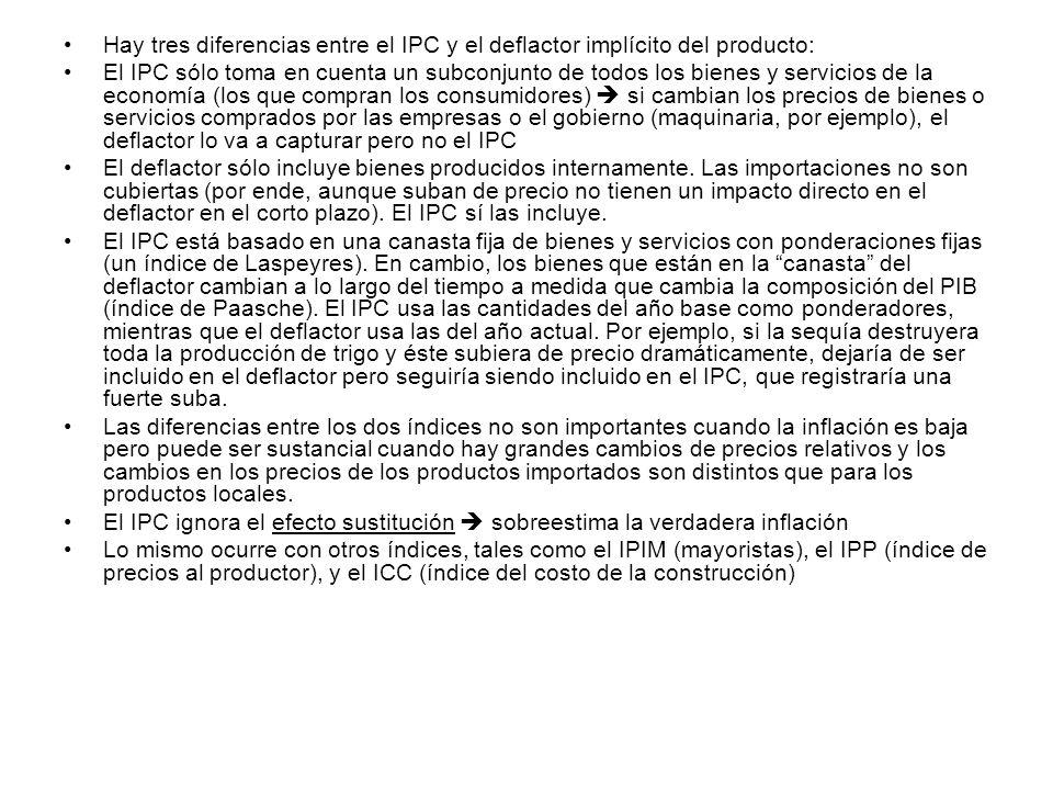 Hay tres diferencias entre el IPC y el deflactor implícito del producto: