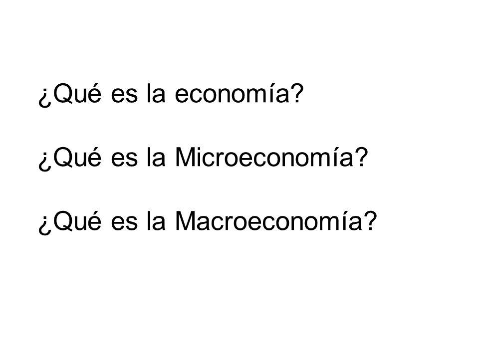 ¿Qué es la economía ¿Qué es la Microeconomía ¿Qué es la Macroeconomía