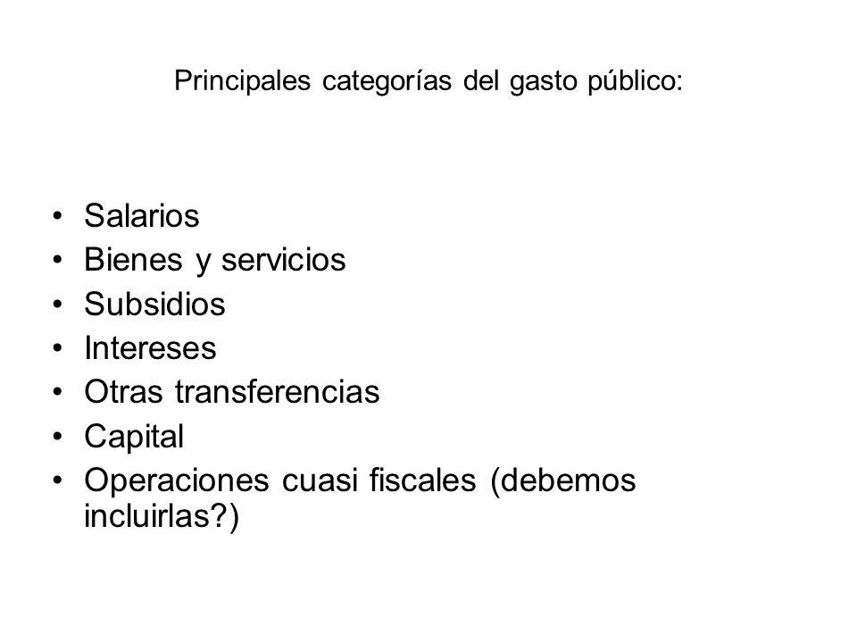 Principales categorías del gasto público: