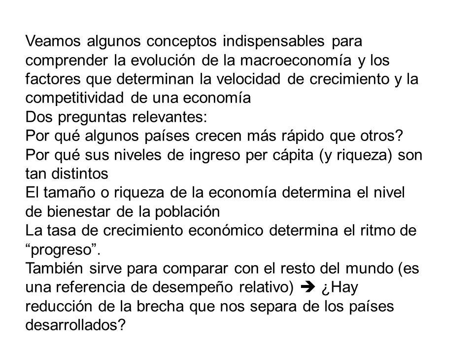 Veamos algunos conceptos indispensables para comprender la evolución de la macroeconomía y los factores que determinan la velocidad de crecimiento y la competitividad de una economía