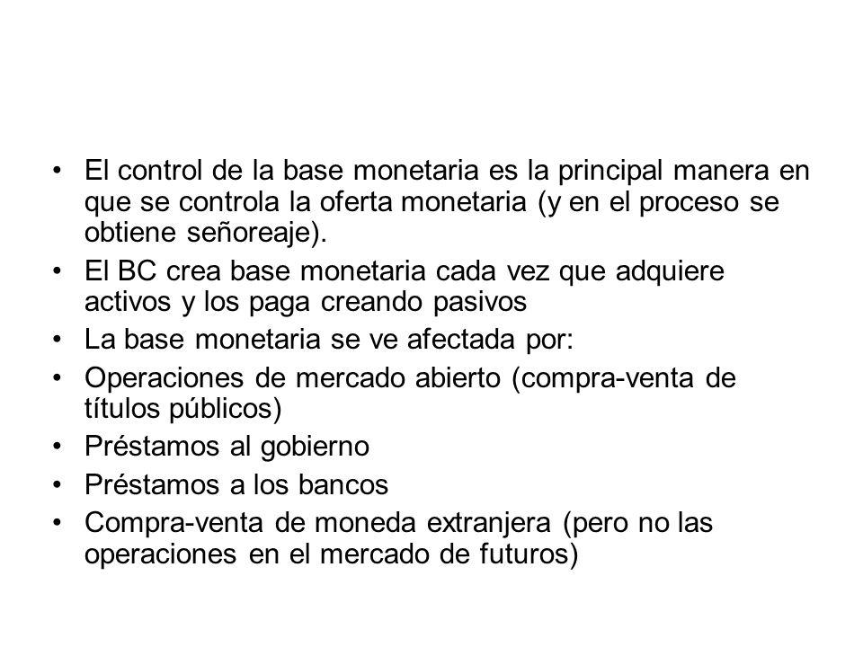 El control de la base monetaria es la principal manera en que se controla la oferta monetaria (y en el proceso se obtiene señoreaje).