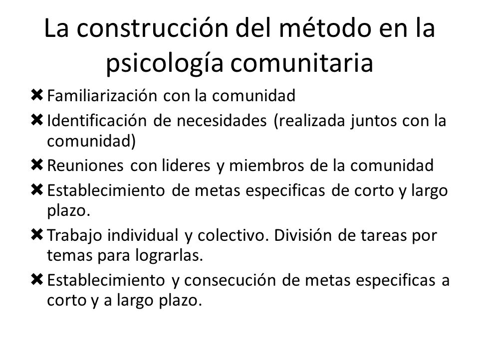 La construcción del método en la psicología comunitaria