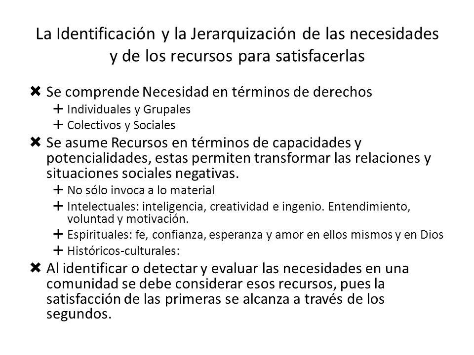 La Identificación y la Jerarquización de las necesidades y de los recursos para satisfacerlas