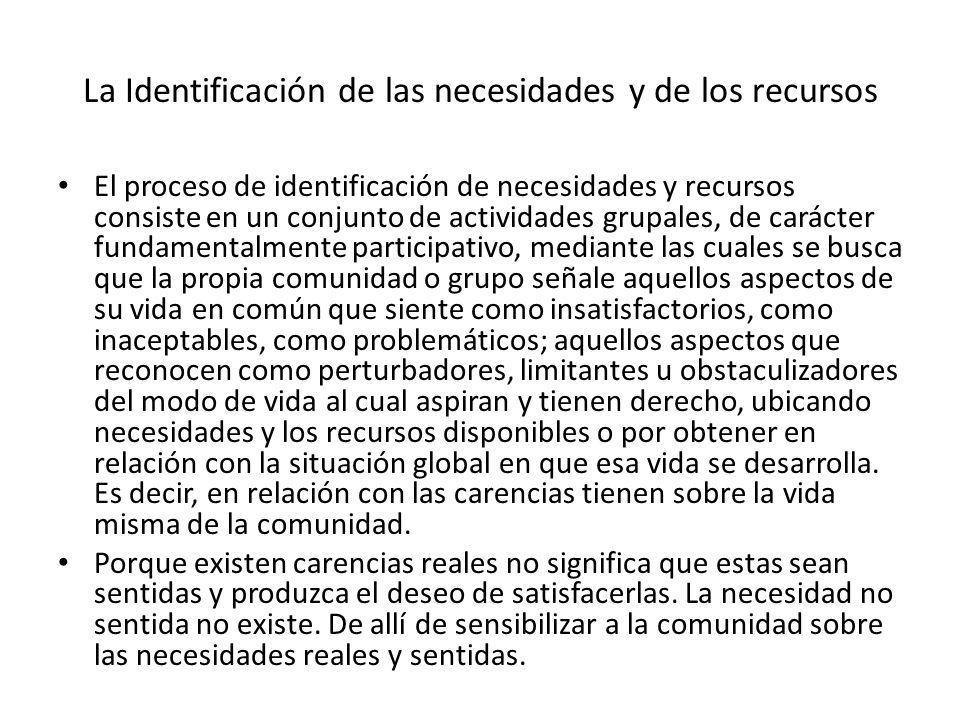 La Identificación de las necesidades y de los recursos