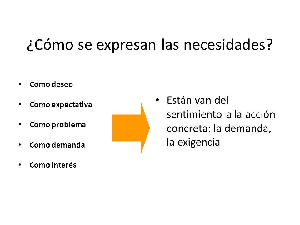 ¿Cómo se expresan las necesidades
