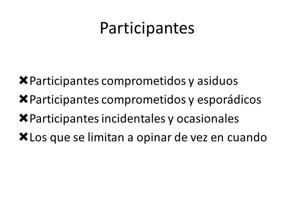 Participantes Participantes comprometidos y asiduos