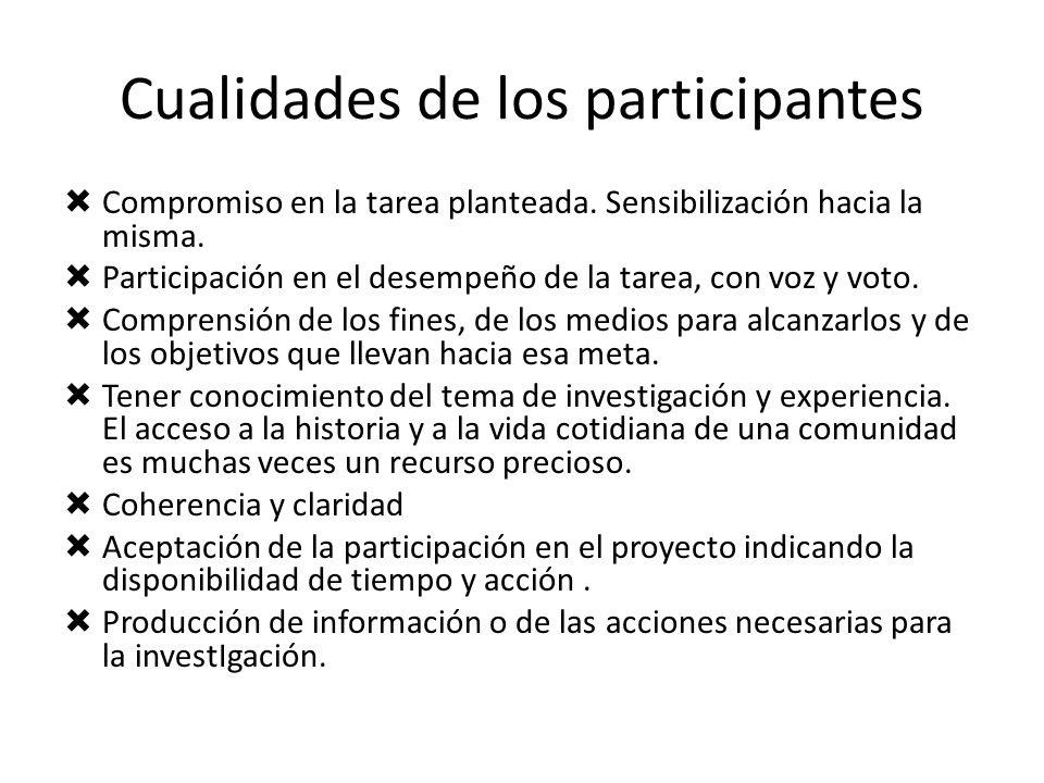Cualidades de los participantes